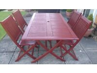 Wooden patio table and 4 chairs