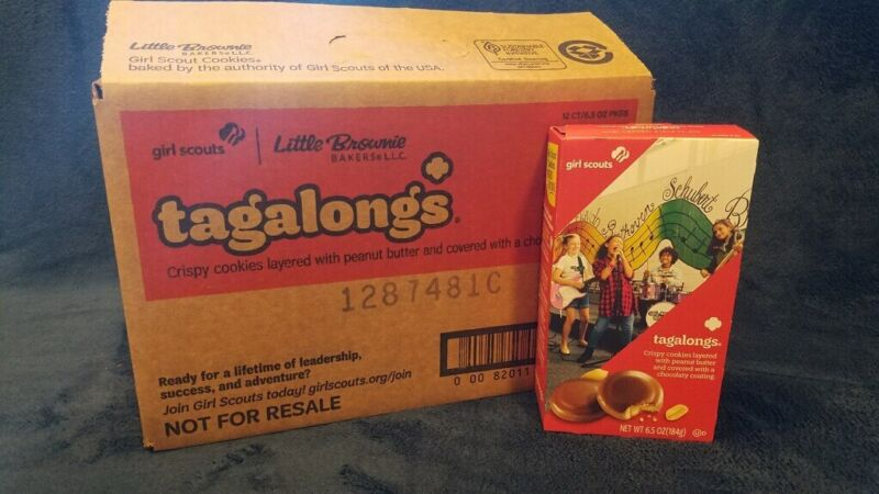 Box Of Girl Scout Cookies (TAGALONGS)-9-oz. boxes Fresh! Free Shipping!