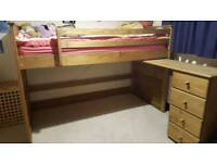 Solid wood high sleeper bed with desk and 4 draws.