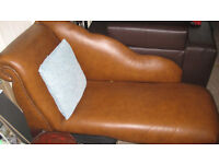 Chaise Longue in beautiful tan leather look