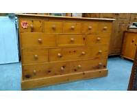 Large 13 drawer solid wood chest