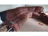 Recling suede corner sofa