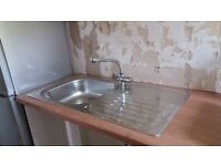 Bargain - Brand new stainless steel sink unit fitted in new oak effect worktop. Never used.