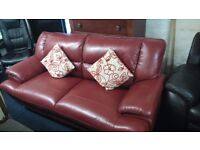 Real leather*3 plus 2 seater sofas*Deep red*Chrome feet*