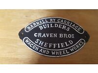 Black and white cast iron Craven Bro's of Sheffield sign