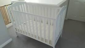 White Mothercare Darlington Cot including Mattress