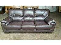Ex Dfs 3 Seater Brown Leather Sofa