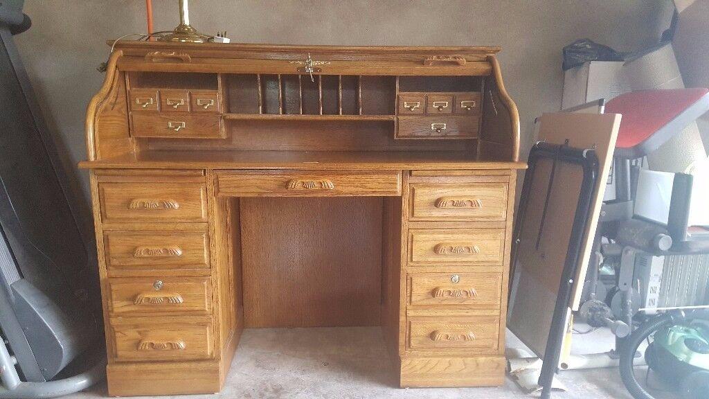 Oak writing bureau & brass lamp. Furniture for Sale in Omagh area.