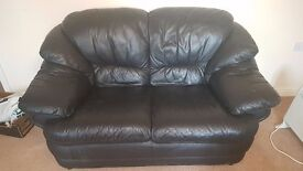 2 pc 2 piece black leather suite with footstool 2 seater plus 3 seater plus foot stool £300 to clear