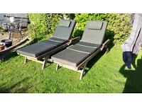 Pair of Teak Garden Sun Lounger Recliner Deck Chair Steamer with Cushions