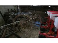 farm hay turner acrobat/ irrigationpipe reel and silage bale grabber