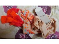 New season Next Scarf RRP £32 - Nude with Fluro Detail & Tassels