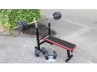 T n P WEIGHTS BENCH & 55KG WEIGHTS & LONG SOLID BARBELL & DUMBBELL BARS