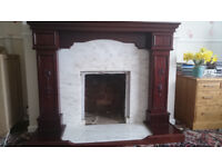 Fire Surround in Mahogany with Real Marble Hearth and Back