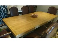 Bespoke Solid Oak Modern 8 Chair Dining Table