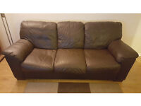 Real Leather 3 seater settee, chocolate brown, very comfortable, excellent condition!