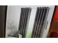 Pair of Dunelm Chenille Grey Lined Eyelet Curtains - W228cm L228cm