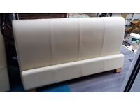 King size Cream Leather Bed Frame and Ortho Mattress