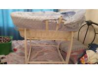 Clair de lune white wicker Moses basket and rocking stand