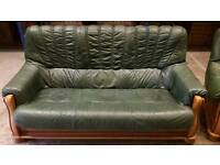 Oak green leather 3 seater and chair
