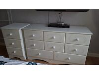 FREE! White bedroom furniture. 4ft dresser+tall chest of drawers+ bedside unit.