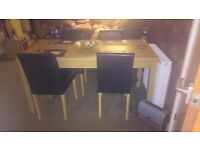 Stunning Solid Pine Dining Table with 6 brown leather chairs.As new,too big. Cost £600. £270 ono