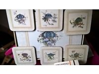 LARGE PLACE MATS AND MATCHING COASTERS MINTON VASES CLOVERLEAF