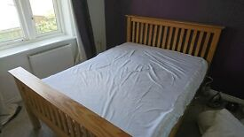 Wood double bedframe and mattress