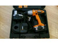 Worx cordless drill, case, 2X battery + charger. (U/s)