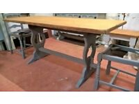 Vintage Farmhouse Kitchen Dining Table *DELIVERY INCLUDED* Grey Refectory Base Shabby Chic(Oak Pine)