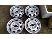 """Unused genuine VW Polo 13"""" steel wheel rims and trims . Smarten up your old faithful Polo"""