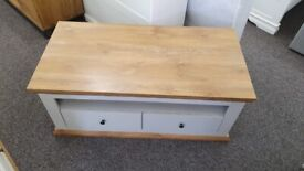 Burford 2 Drawer Storage Coffee Table in Grey & Oak Effect Can Deliver