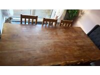 Rustic look dining table & 6 chairs