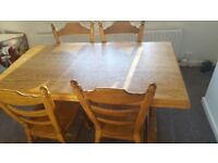 Solid Heavy Oak Four Chair Table with 4 Chairs