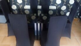 Black glass table 6chairs