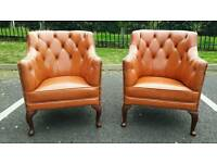Chesterfield tan/orange leather chairs PAIR ! AS NEW CONDITION! BARGAIN.