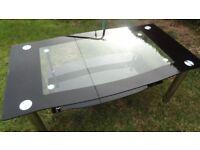 black gloss and chrome glass coffee table