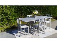 Vintage 1940's Dining Table and 4 Chairs, Shabby Chic, Paris Grey.