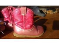 2 pairs of fab SIZE 5 Infant COWGIRL & High top Boots