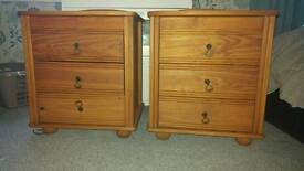 2 x pine bedside drawers