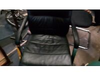Office furniture Manager style black leather chair on chrome feet