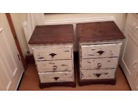 2 x Cream Vintage Bedside Cabinets (Distressed in Style) £30.00 each or £50.00 for the Pair