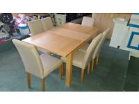 HARVEYS WOODEN DINING TABLE WITH 6 CHAIRS