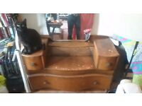 Retro Wooden Dresser with Mirror