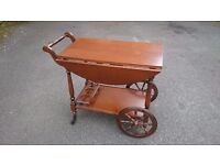 Stunning Coffee / Drinks / Tea Trolley Vintage Style Wagon Wheel Smooth Rolling Very Good Condition