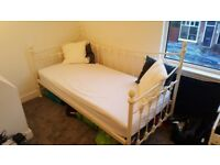 Day Bed (Cream, metal framed with matress) For Sale