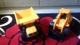 Boys digger & Dump truck