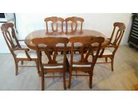 Pine Veneer Extendable Dining Table and 6 Solid Wood Chairs
