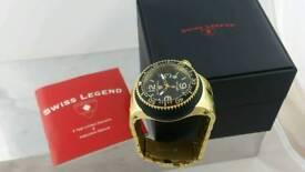 Swiss Legend Men's Gold Stainless Steel Black Dial Quartz Watch 21848P-YG-11-GB