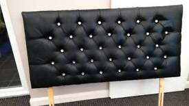 Double black faux leather and diamonte headboard